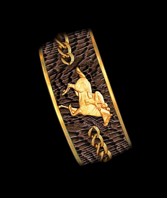 Brown Snake- Racing Horse Chain- Gold- Wide