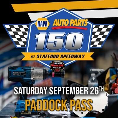 Saturday, September 26th - Whelen Modified Tour Paddock Pass