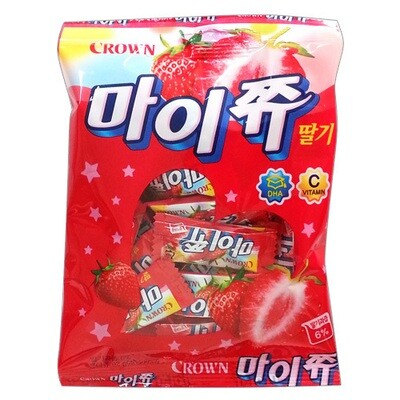 Crown Korean Chewy Candy Strawberry Flavor (3.2 Oz)