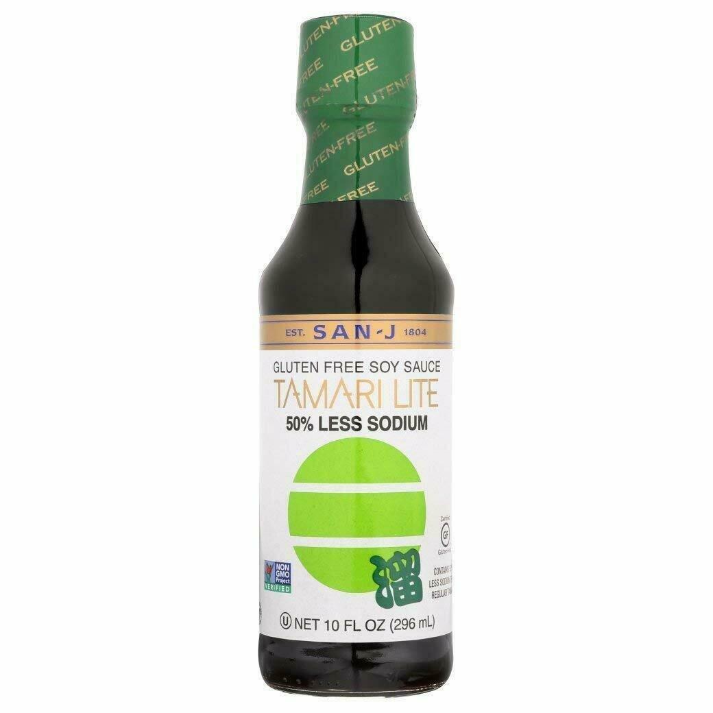 San-J Gluten Free Soy Sauce Tamari Lite 50% Less Sodium (10 Fl. Oz)