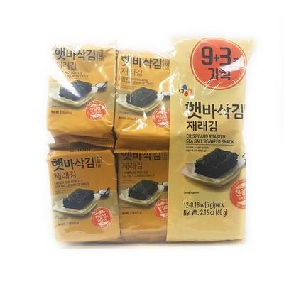 CJ Crispy & Roasted Sea Salt Seaweed Snack 12 Packs (0.18 Oz * 12)
