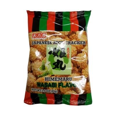 Amanoya Japanese Rice Cracker Himemaru Wasabi Flavor (3 Oz)