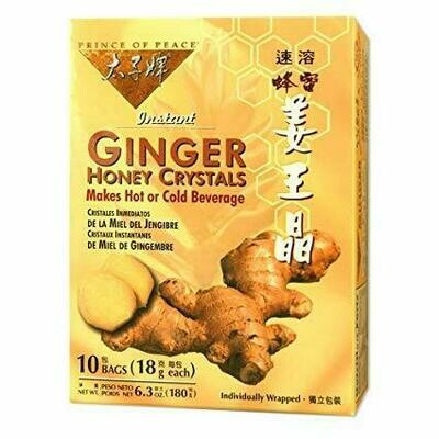 Prince of Peace Instant Ginger Honey Crystals 10 Bags (6.3 Oz)