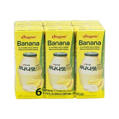 Binggrae Banana Flavored Milk Drink (6.8 Fl. Oz. * 6 Packs)