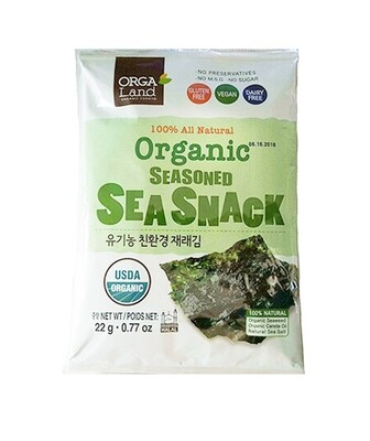 OrgaLand 100% All Natural Organic Seasoned Sea Snack 3 Packs (0.77 Oz *3)