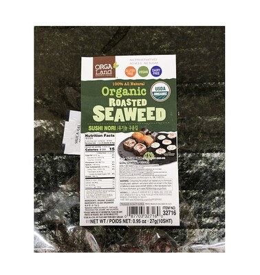 OrgaLand 100% All Natural Organic Roasted Seaweed 10 Sheets (0.95 Oz)