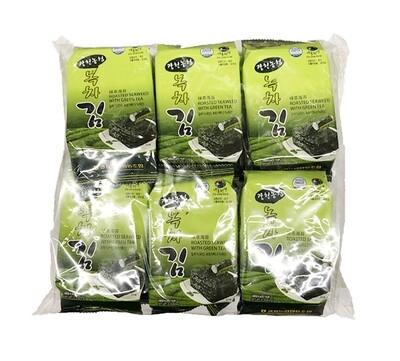 Haetae Roasted Seaweed with Green Tea 12 Packs (0.14 Oz * 12)