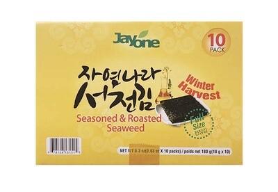 Jayone Seasoned & Roasted Seaweed 10 Packs (0.63 oz * 10 pcs)