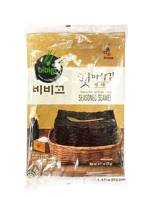 CJ Bibigo Savory Roasted Korean Seasoned Seaweed (0.7 Oz * 4)