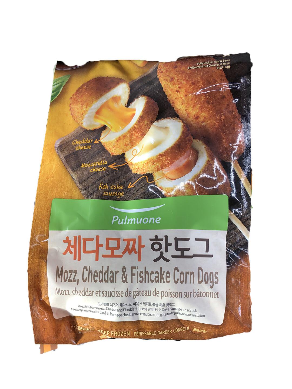 Pulmuone Mozzarella, Cheddar & Fish Cake Corn Dogs 2.8oz(80g) 5 Packs