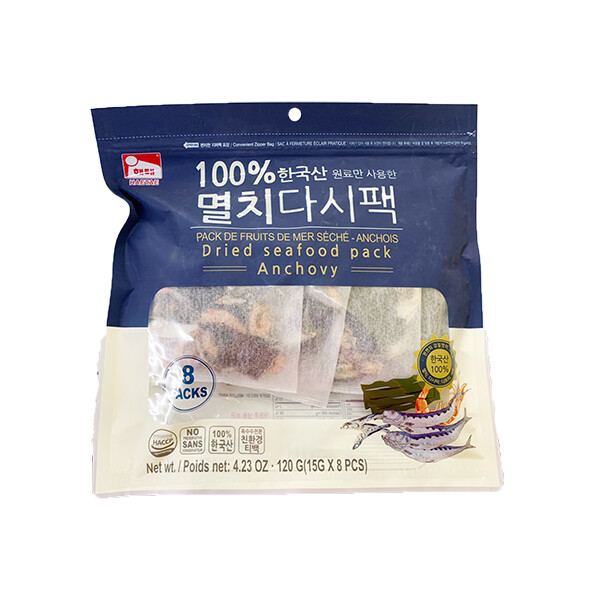 HaeTae Dried Seafood Pack Anchovy (0.53 Oz * 8 Packs)