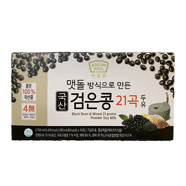 AremDeul Black Bean & Mixed  15 Grain Soy Milk  (6.09 Fl. Oz. * 15 Packs)