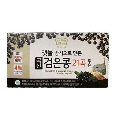 AremDeul Black Bean & Mixed  15 Grain Soy Milk  (6.09 Fl. Oz. * 15 Packs)