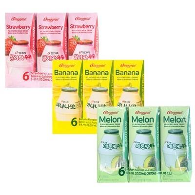 Binggre Flavored Milk Drink (6.8 Fl. Oz. * 6 Packs)