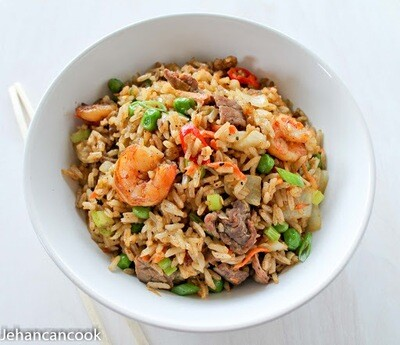 Fried Rice Combination (Shrimp, Chicken & Beef)
