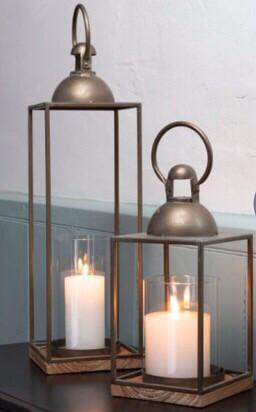 Brass & Wood lantern - Tall