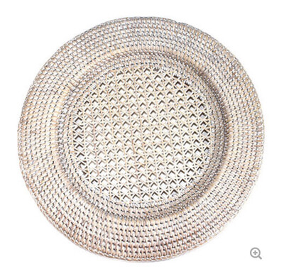 Rattan Charger plate - Whitewash - DUE Autumn