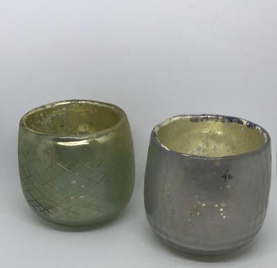 Chunky Glazed Mercury Glass T Light holder