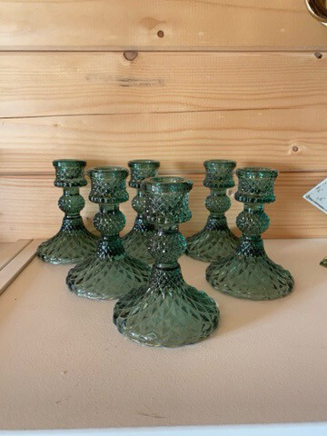 Emerald Green glass Candelstick
