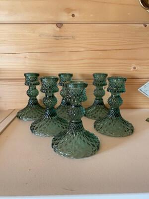 Emerald Green glass Candelstick