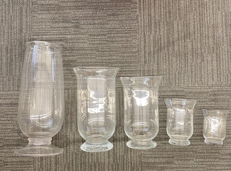 JOB LOT - Family Of Glass Hurricane Vases