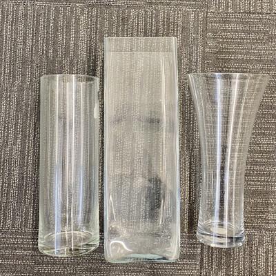 JOB LOT - Tall Glass Hurricane Vases X 3