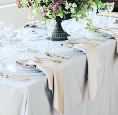 "Duchesse Satin Wedding Tablecloths - 6ft Rectangle 130"" X 90"""