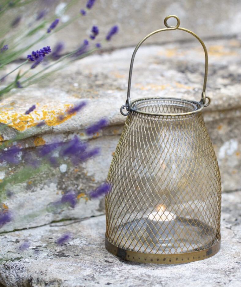Mesh Hanging Lantern Antique Brass Large - 15 X15x19