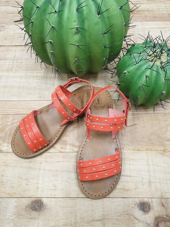 Sandalo borchie cuoio