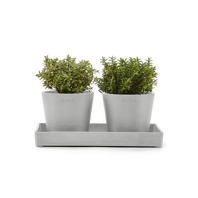 Ecopots Display Platter Amsterdam Mini 25 White Grey