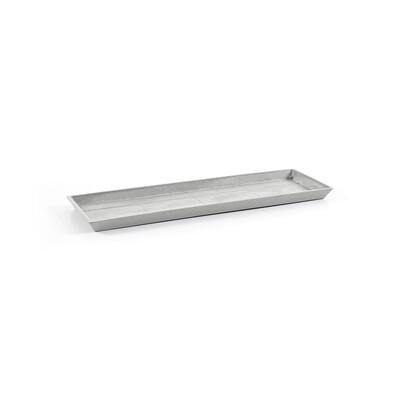 Ecopots Saucer Rectangular 80 White Grey