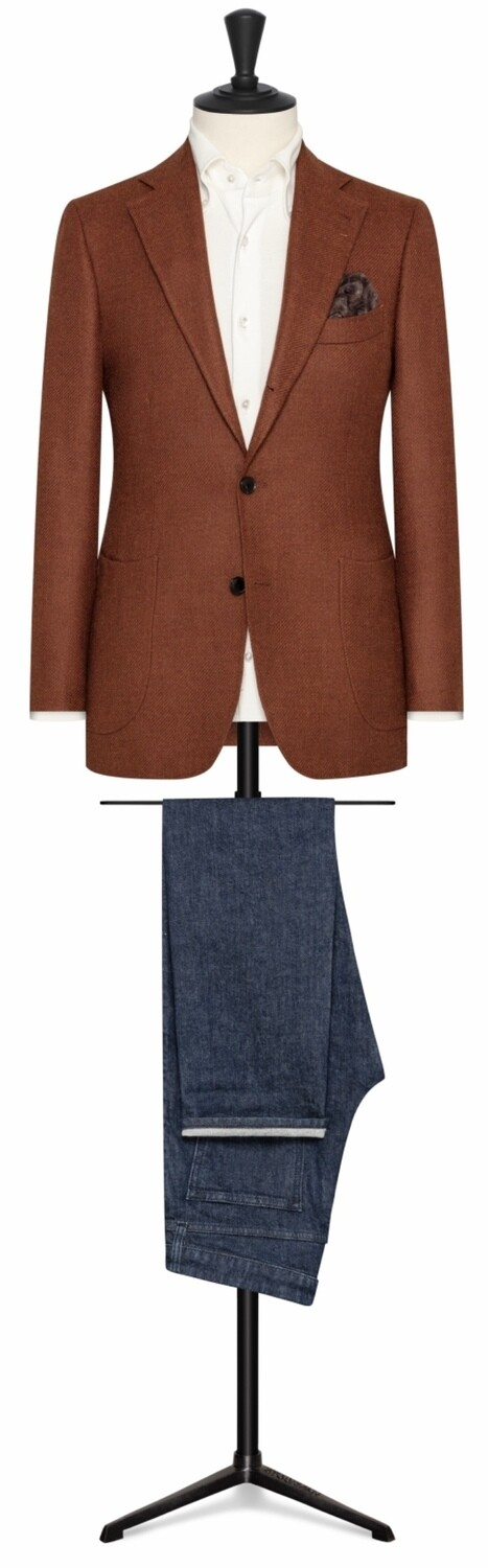 Medium Brown Single Breasted Notch Lapel Roll To Two Button Model w/lower Patch Pockets and Side Vents.