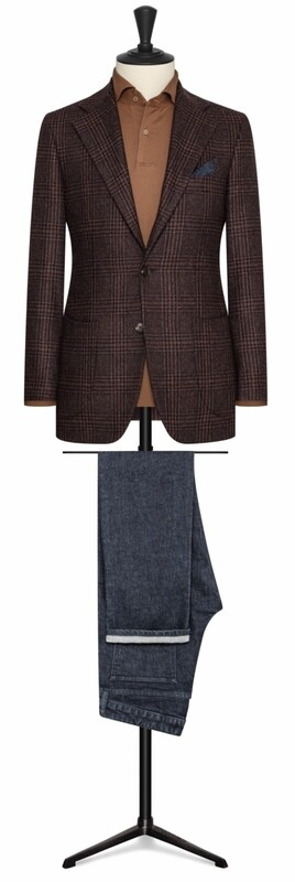 Brown Plaid Single Breasted Two Button Notch Lapel w/ Lower Patch Pockets and Side Vents