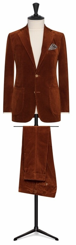 Burnt Orange Corduroy Suit in Single Breasted Notch Lapel Two Button Model With Lower Patch Pockets and Side vents