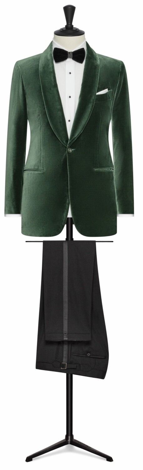 Green Velvet Single Breasted Shawl Lapel Tuxedo Jacket w/ Lower Besom Pockets, Side Vents and Black Plain Front Tuxedo Trousers