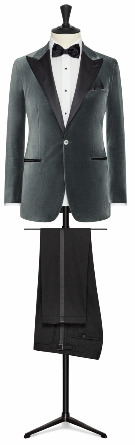 Solid Grey Velvet Peak Lapel Dinner Jacket in One Button Single Breasted Model With Lower Besom Pockets, Side Vents and Black Tuxedo Trousers
