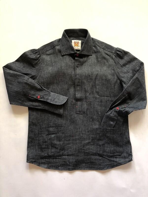 The Barker Dark Denim Popover Shirt
