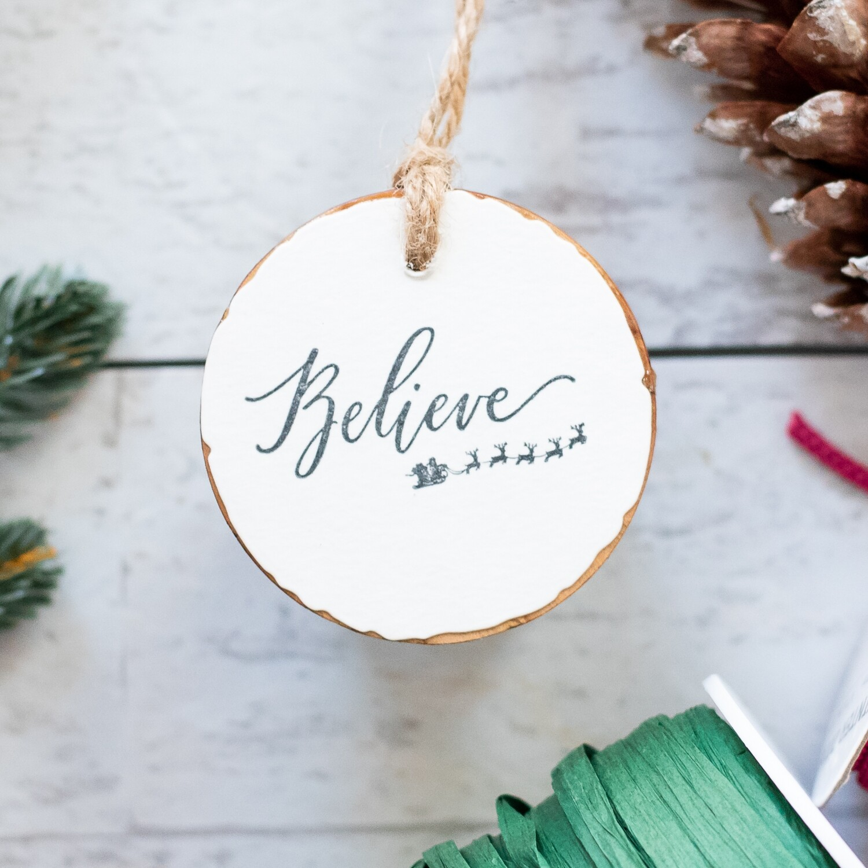 Believe- Grey Wood Round Ornament