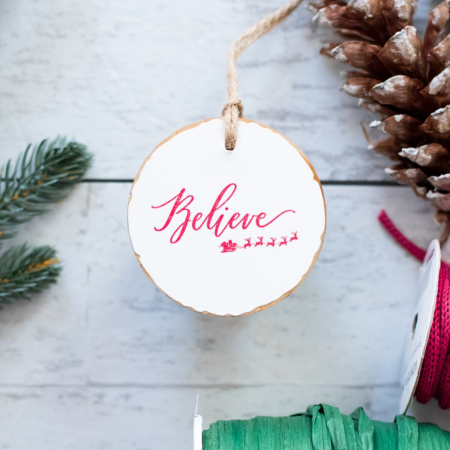Believe- Red Wood Round Ornament