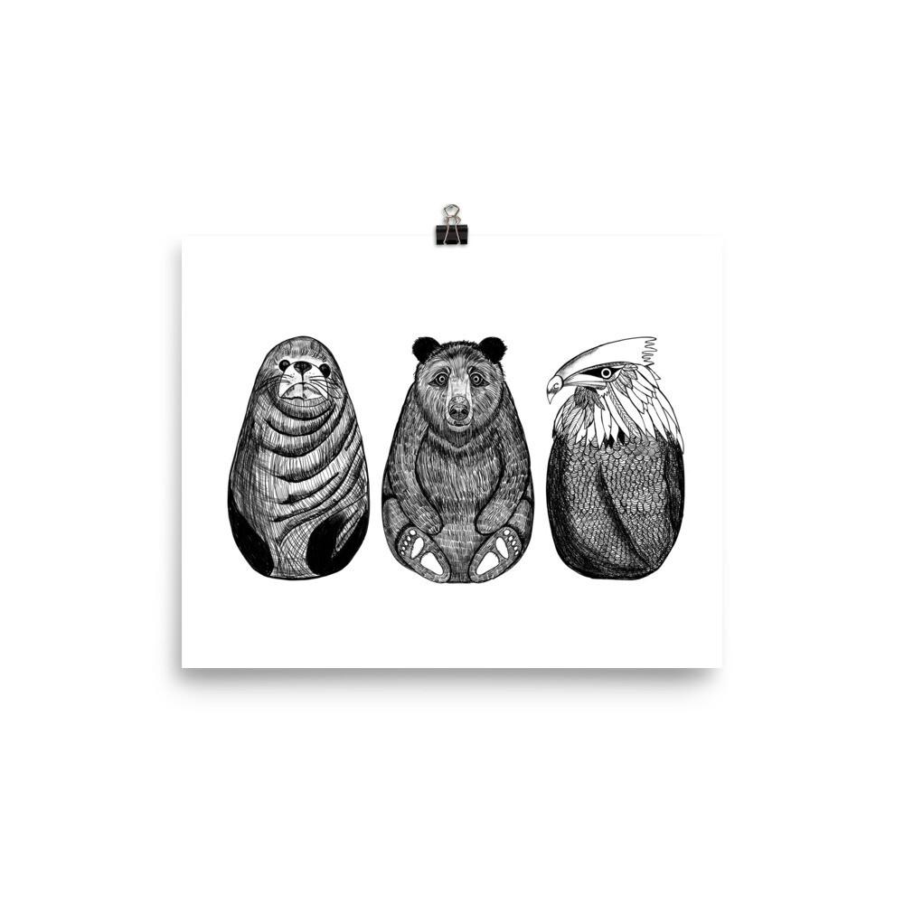 Inky Animals, Print