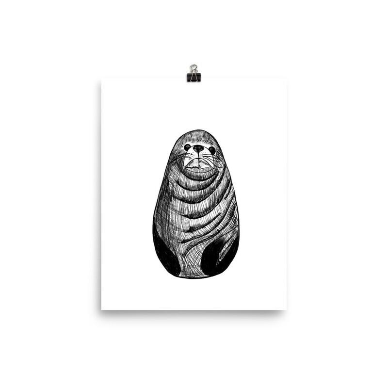 Inky Sealion Print