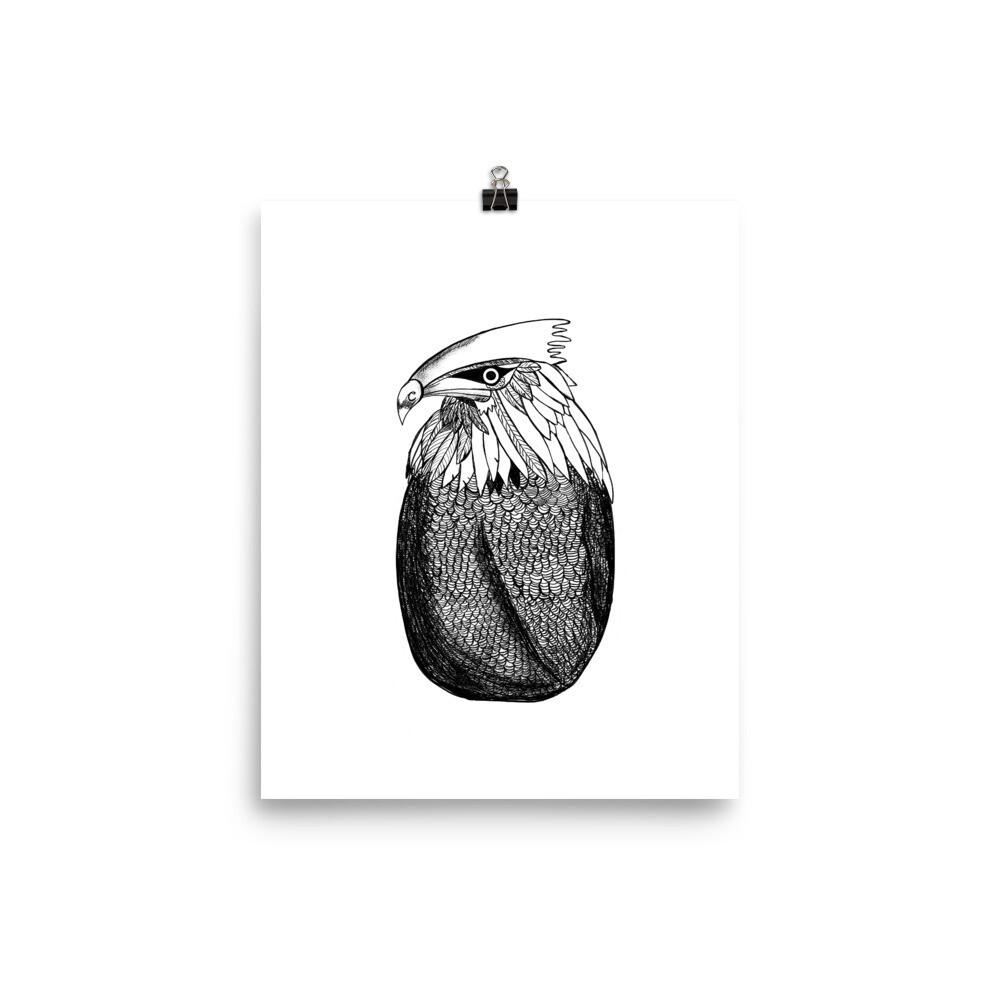 Inky Eagle Print