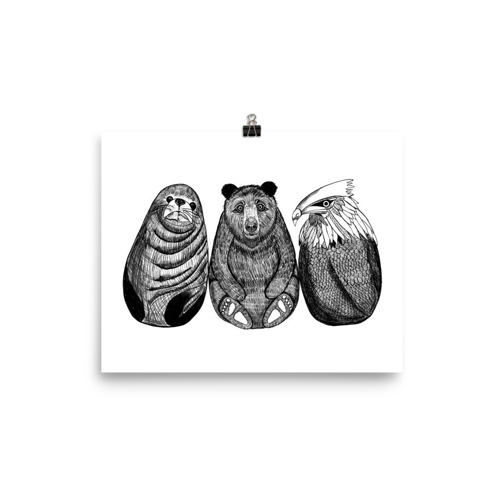 Inky Animals Leaning Print