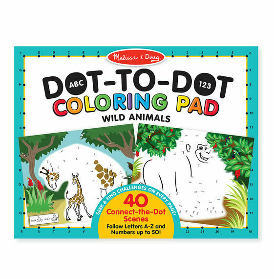 Wild Animals Dot-To-Dot Coloring Pad