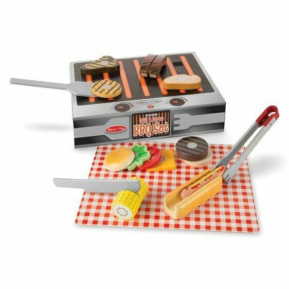 Wooden Grill & Serve BBQ Set