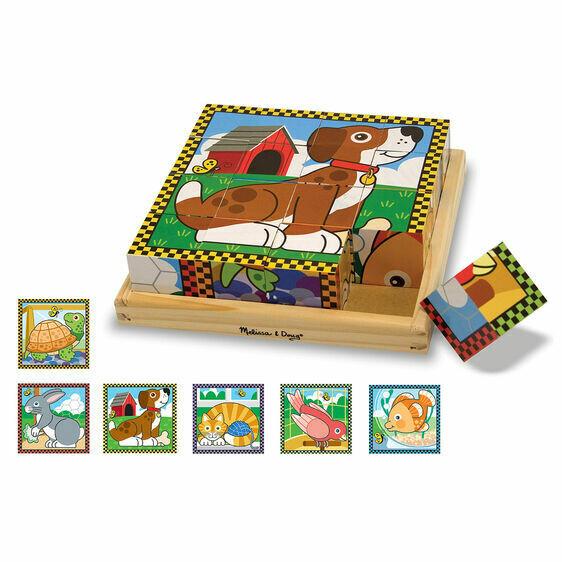 Wooden Cube Puzzle Pets