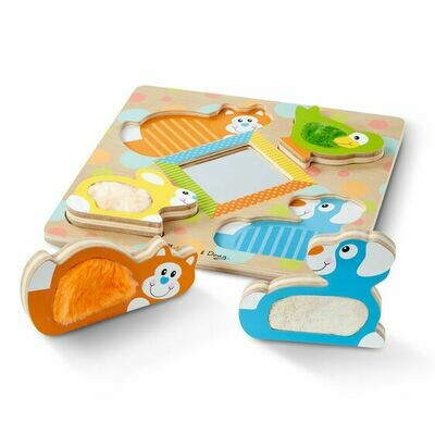 Peek-a-boo touch and feel puzzle