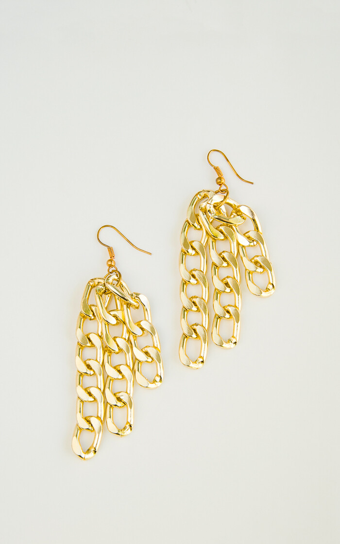 Multi Chain Gold Earrings - BLACKDOLL ACCESSORIES