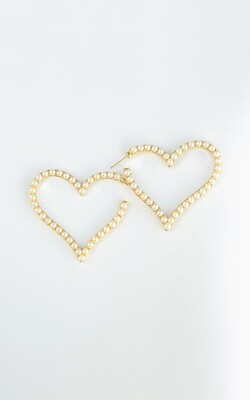 Micropearls Heart Hoops - BLACKDOLL ACCESSORIES