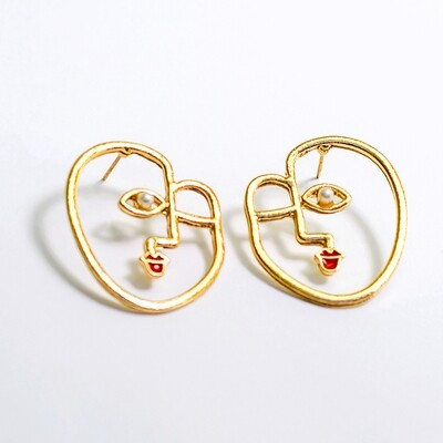 Red Lips Face Earrings - BLACKDOLL ACCESSORIES